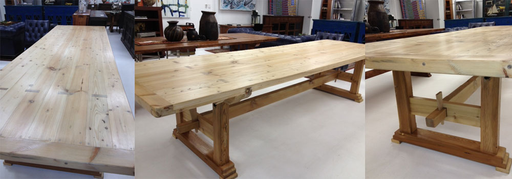 Custom Dining TablesCustom Diy Butcher Block Table With Wooden Top And Flower Plus Black